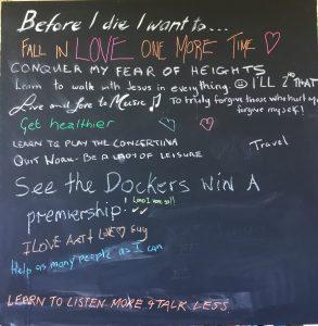 Before I die blackboard