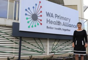 Learne Durrington with the new WA Primary Health Alliance sign