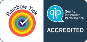 Qip rainbow tick accredited symbol jpeg 300x145